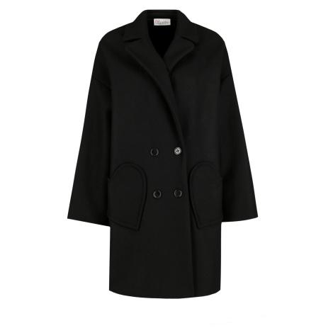 Černý vlněný kabát s příměsí kašmíru RED VALENTINO