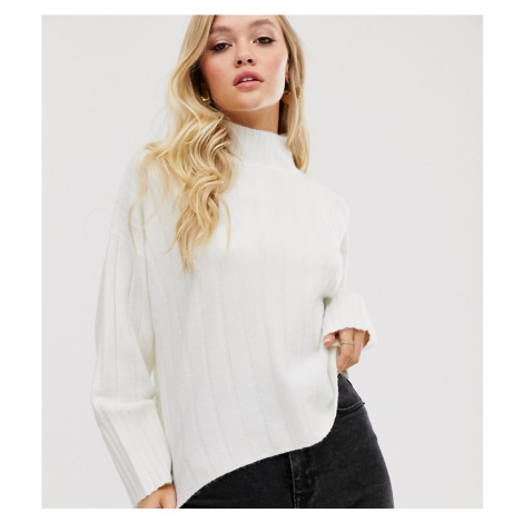 M Lounge high neck jumper in wide rib knit-Cream