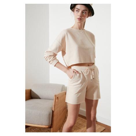 Trendyol Beige Knitted Shorts & Bermuda