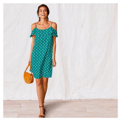 Blancheporte Šaty s volánovým výstřihem a potiskem smaragdová