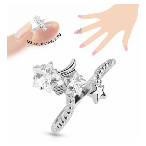 Rhodiovaný prsten na nehet, čiré zirkonové hvězdičky, nastavitelný Šperky eshop