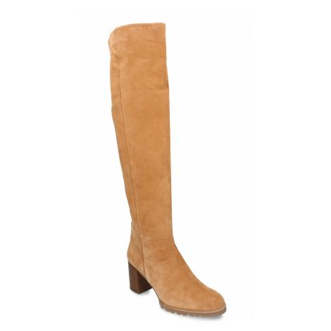 Béžové dámské kožené kozačky nad kolena Högl