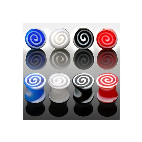 Plug do ucha - barevné spirály - Tloušťka : 8 mm, Barva piercing: Červená