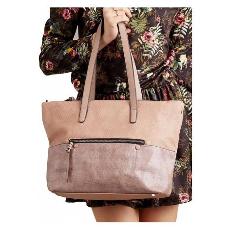 Růžovo-zlatá shopper kabelka se zipem BASIC