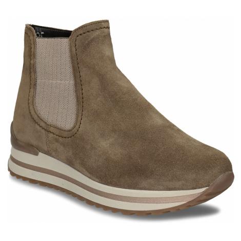 Béžová dámská kožená kotníková obuv s vyšší podešví Gabor
