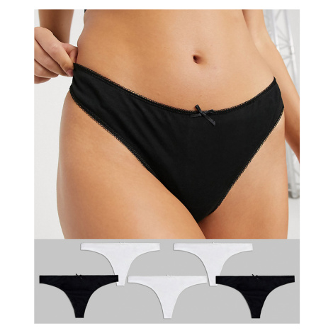 New Look 5 pack cotton thong in multi
