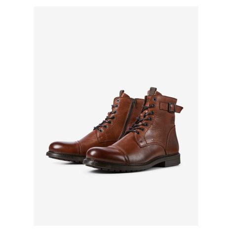 Hnědé kotníkové kožené boty Jack & Jones Shelby