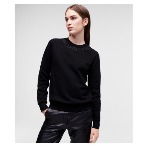 Mikina Karl Lagerfeld Rhinestone Logo Neck Sweat - Černá