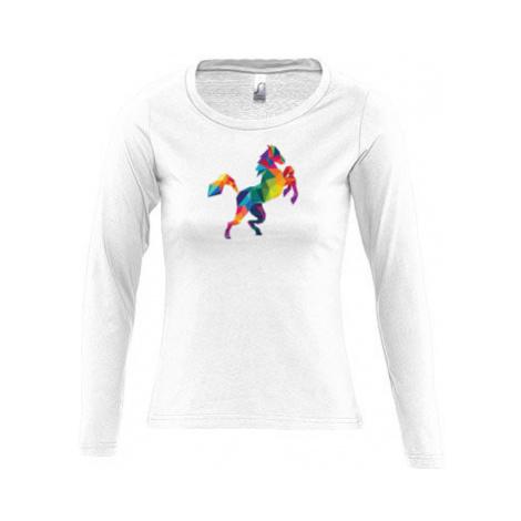 Dámské tričko dlouhý rukáv kulatý výstřih Kůň z polygonů