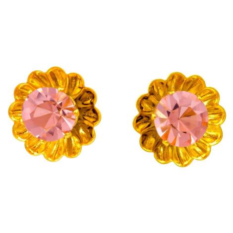 Linda's Jewelry Náušnice Simple Květ pecky chirurgická ocel IN045 Barva: Lososová