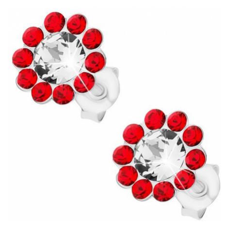Náušnice ze stříbra 925, kvítek z čirých a červených krystalů Preciosa Šperky eshop