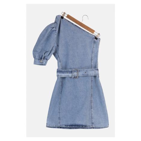 Trendyol Blue One Shoulder Mini Denim Dress