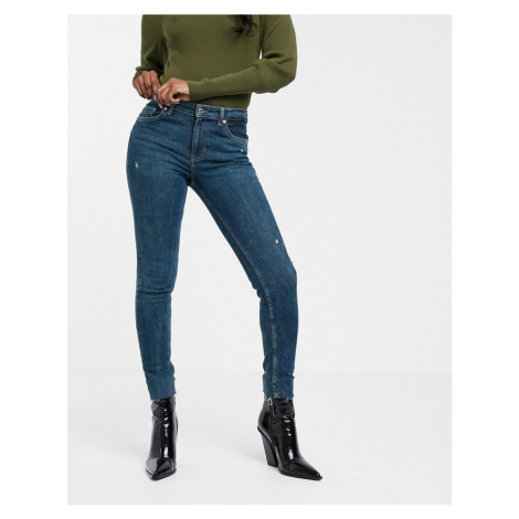 Bershka skinny 5 pocket jean in dark blue