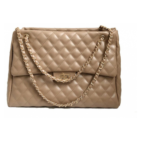 Kvalitní prošivaná kabelka na zip se zámečkem béžová