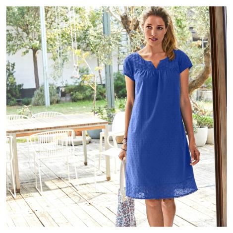 Blancheporte Šaty s anglickou výšivkou tmavě modrá