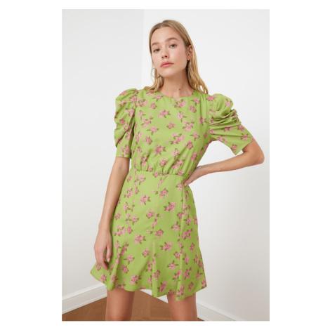Trendyol Green Patterned Balloon Sleeve Dress