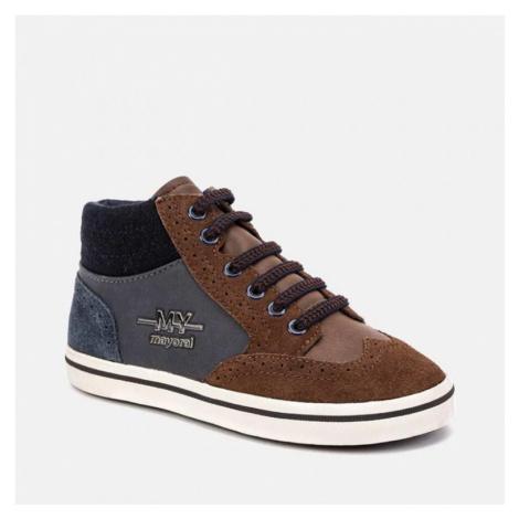 Kožená, kotníková obuv MAYORAL 44091 | hnědá