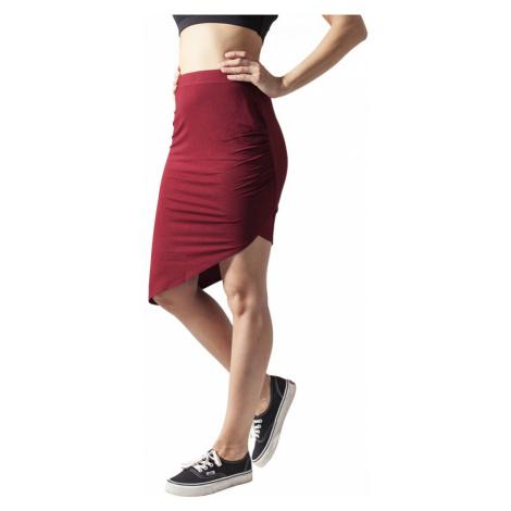 Ladies Asymetric Viscose Skirt - burgundy Urban Classics