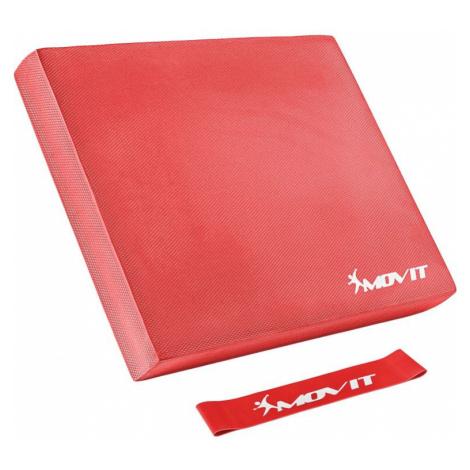 Balanční polštář s gymnastickou gumou - červené