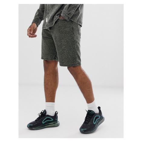 Bershka co-ord denim shorts with animal print in green
