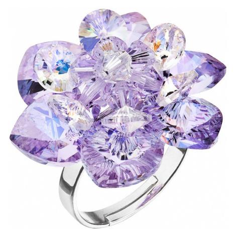 Evolution Group Stříbrný prsten s krystaly Swarovski fialová kytička 75001.3