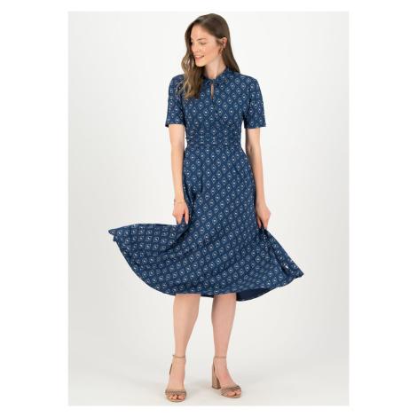 Midi udržitelné modré šaty Blutsgeschwister Lotus