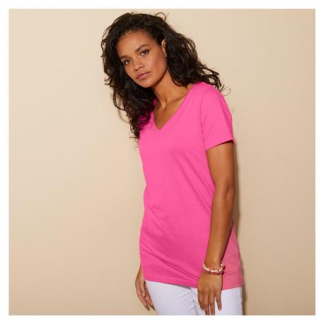 """Blancheporte Jednobarevné tričko s výstřihem do """"V"""" růžová"""