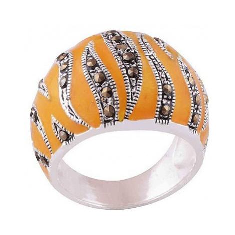 AutorskeSperky.com - Stříbrný prsten s markazity zdobený smaltem - S277