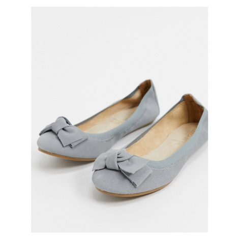 Accessorize leather bow ballet flats in grey