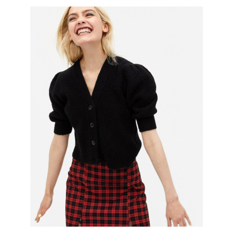 Monki Puffy short sleeve cardigan in black