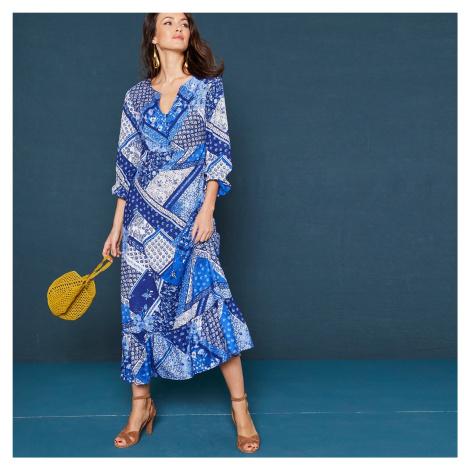 Blancheporte Dlouhé volánové šaty s potiskem a dlouhými rukávy modrá