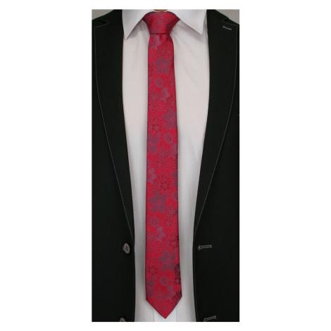 Buďchlap Červená kravata se vzorem květů