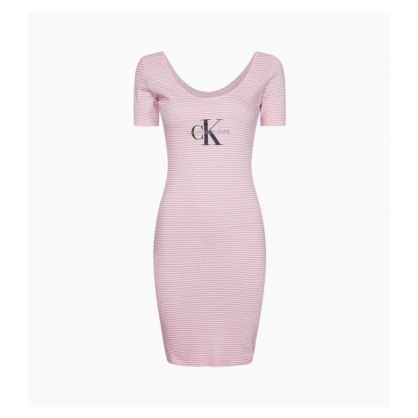 Calvin Klein Calvin Klein dámské růžové pruhované šaty Monogram Stripe Ballet Dress