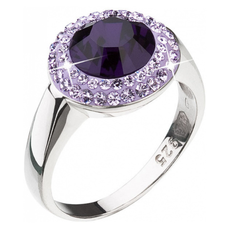 Evolution Group Stříbrný prsten s krystaly Swarovski fialový 35025.3