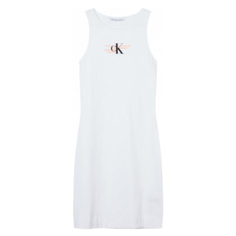 Calvin Klein Jeans Šaty bílá / oranžová / černá