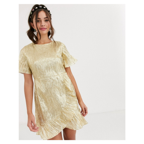 Collective The Label lame mini dress in gold