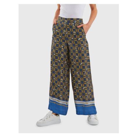 Kalhoty La Martina Woman Chains Printed Pant - Modrá