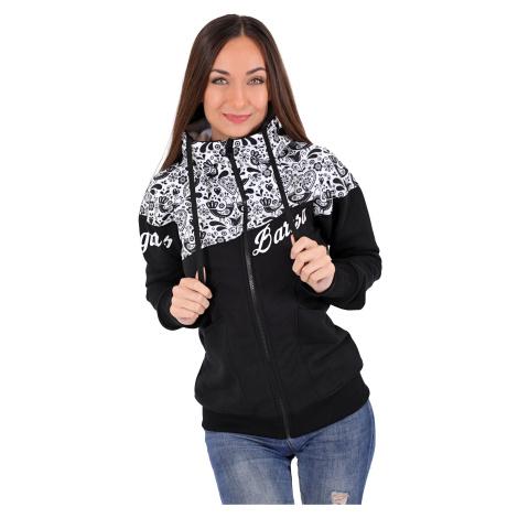 Dámská softshell bundomikina s kapucí na zip Barrsa Double Soft Script Black Folk/Black/White