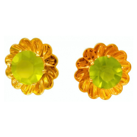 iocel.cz Náušnice Simple Květ pecky chirurgická ocel IN045 Barva: Zelená