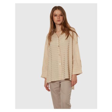 Košile La Martina Woman Lurex Tela L/S Shirt - Hnědá