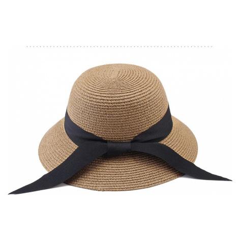 Letní slaměný klobouk s mašli vzadu béžové barvy