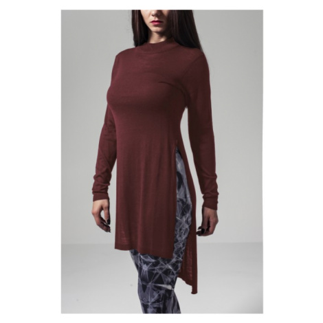 Urban Classics Ladies Fine Knit Turtleneck Long Shirt burgundy