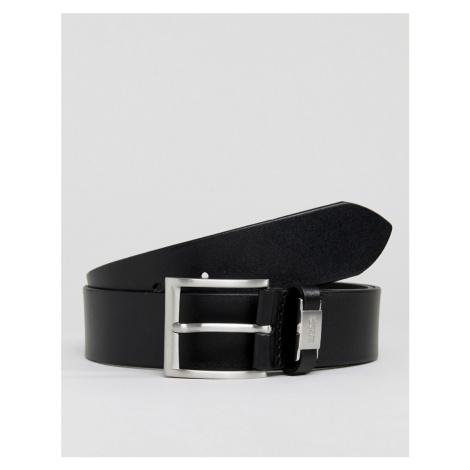 BOSS Connio leather logo keeper belt in black Hugo Boss