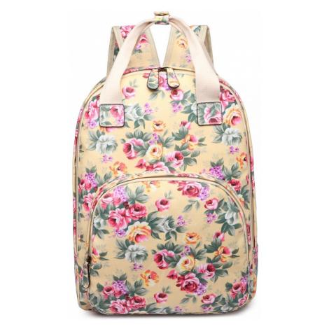 Béžový květinový moderní dámský batoh Vlasten Lulu Bags