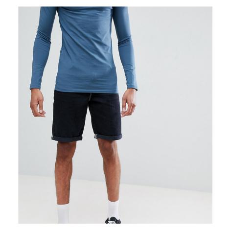 ASOS DESIGN Tall denim shorts in slim black contrast stitch