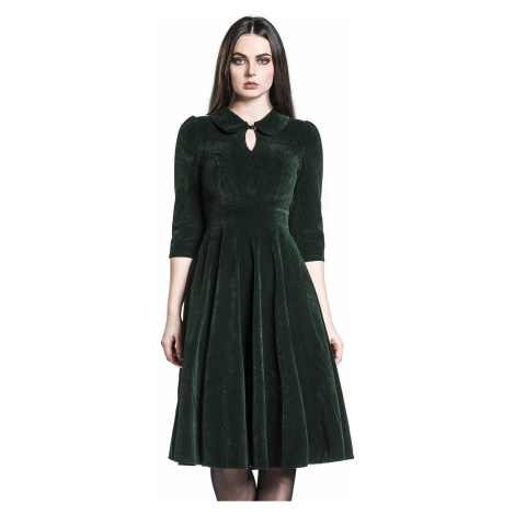 H&R London Glamorous Velvet Tea Dress šaty tmave zelená
