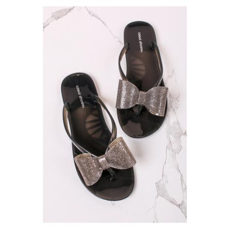 Tmavě šedé gumové pantofle s mašlí Ryna Ideal