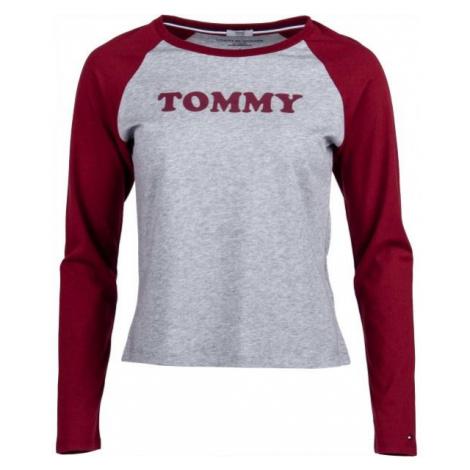 Tommy Hilfiger LS TEE SLOGAN šedá - Dámské triko s dlouhým rukávem