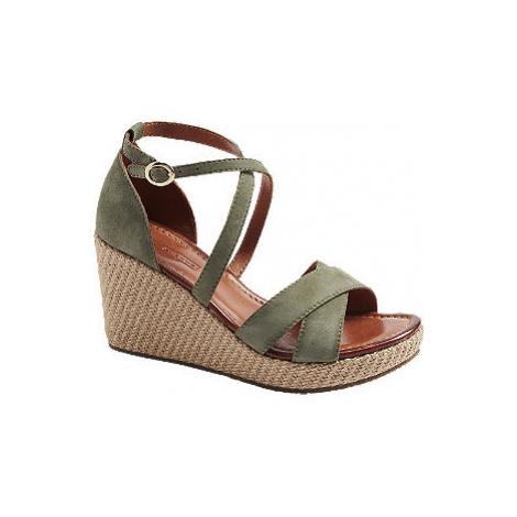 Zelené kožené sandály na klínovém podpatku 5th Avenue