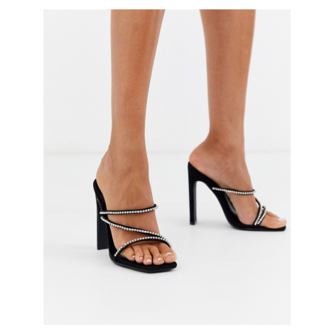Missguided diamante strap heeled sandal in black
